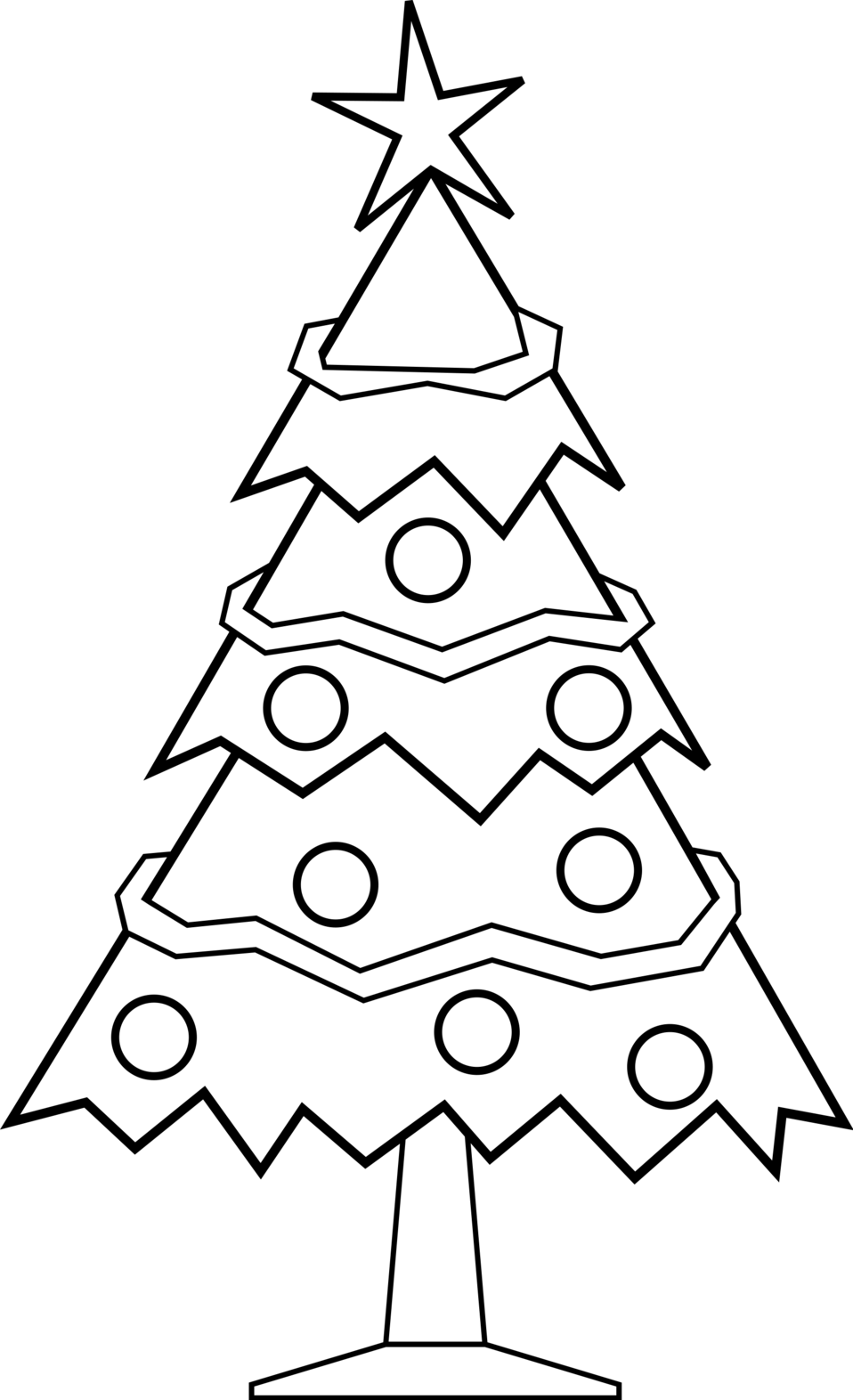 Xmas tree clipart black and white