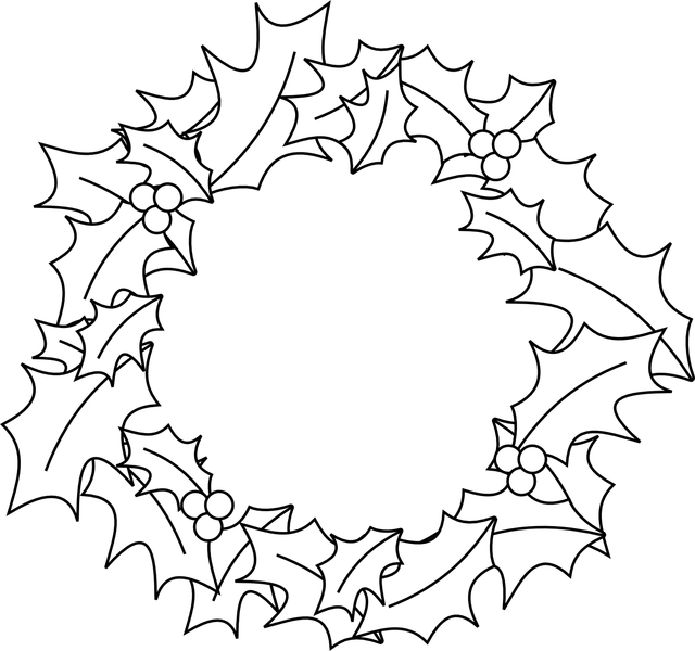 Black and white christmas wreath clipart clip free Wreath Clipart Black And White | Free download best Wreath Clipart ... clip free