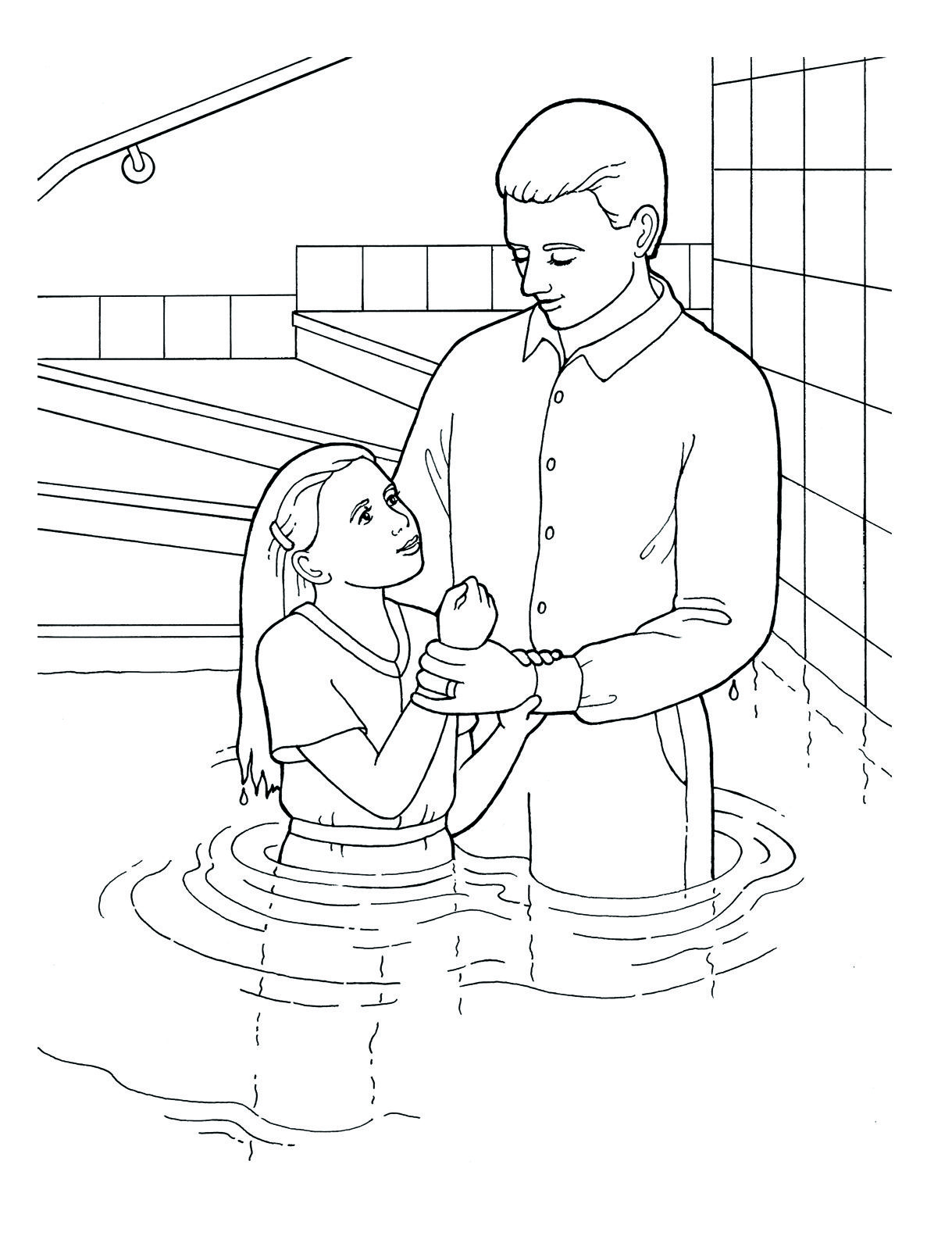 Black and white church young baptism lds clipart picture Pin by Latter-day Array on Primary Coloring Pages   Lds coloring ... picture