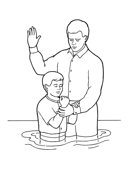 Black and white church young baptism lds clipart banner royalty free library An illustration of a young boy being baptized, from the nursery ... banner royalty free library
