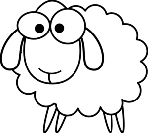 Black and white church young sheep clipart svg library stock Outline Sheep clip art - vector clip art online, royalty free ... svg library stock