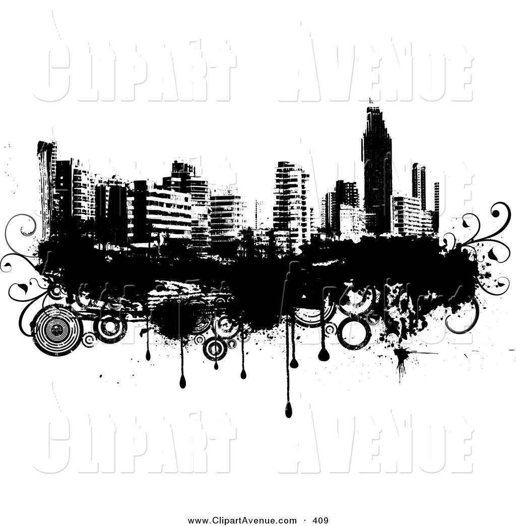 Black and white city skyline clipart graphic royalty free Avenue Clipart of a Black and White City Skyline on Grunge with ... graphic royalty free