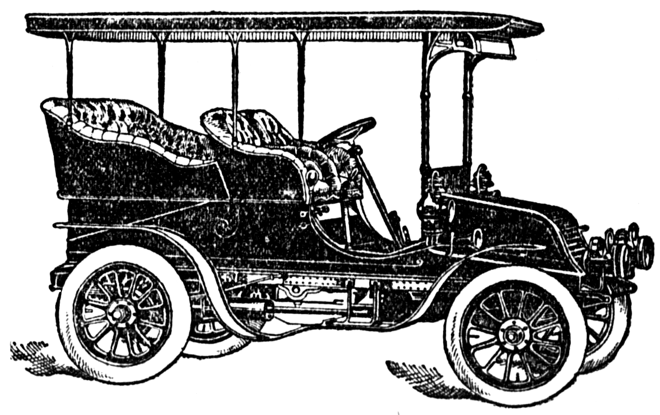 Car motor clipart picture black and white library Vintage Snips and Clips: 1904 Vintage Car Clipart Black and White picture black and white library