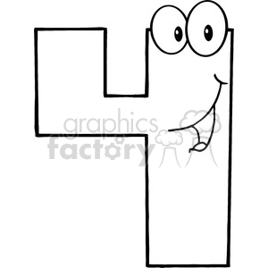 Black and white clipart 4 vector black and white 4989-Clipart-Illustration-of-Number-Four-Cartoon-Mascot-Character clipart.  Royalty-free clipart # 385222 vector black and white