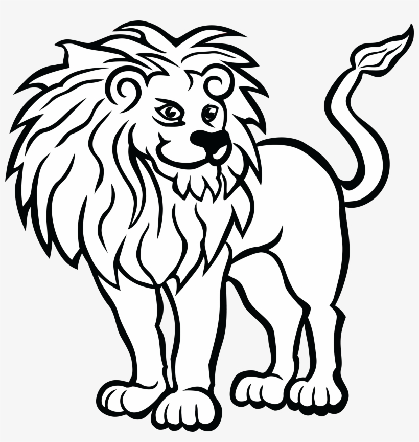 Black and white clipart a picture free stock Big Cat Vector Clipart Of A Black And White Lion Head - Clip Art Of ... picture free stock