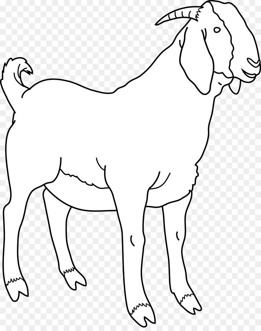 Black and white clipart a black goat