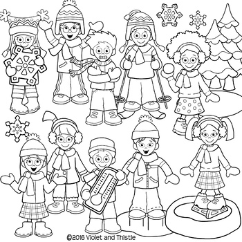 Black and white clipart activities black and white stock Winter Kids clipart-LINE ART ONLY Kids Winter Activities Clipart Clip Art black and white stock