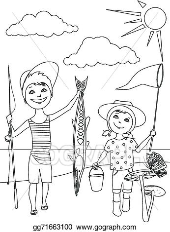 Black and white clipart activities jpg Vector Clipart - Summer activities for kids coloring. Vector ... jpg