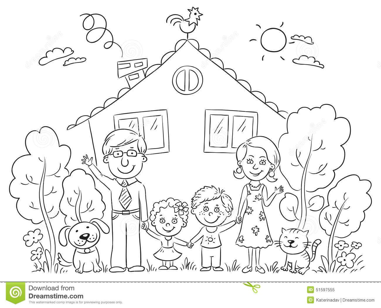 Little individual kids clipart black and white image black and white download free clipart picture of my house and family black and white outlines ... image black and white download