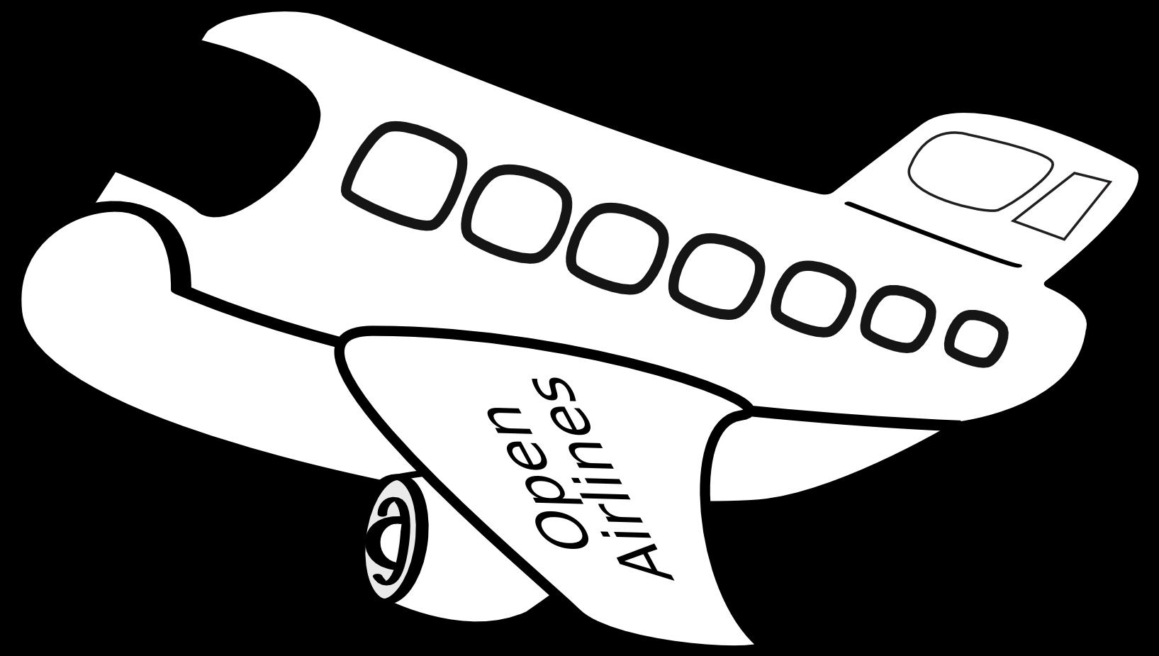 Black and white clipart aereo free stock Aereo Passeggeri Funny Airplane Black White Line Art - Clip Art ... free stock