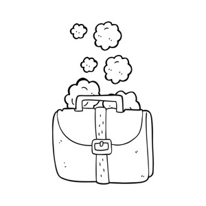 Black and white clipart an old bag image black and white download freehand drawn black and white cartoon old work bag Royalty-Free ... image black and white download