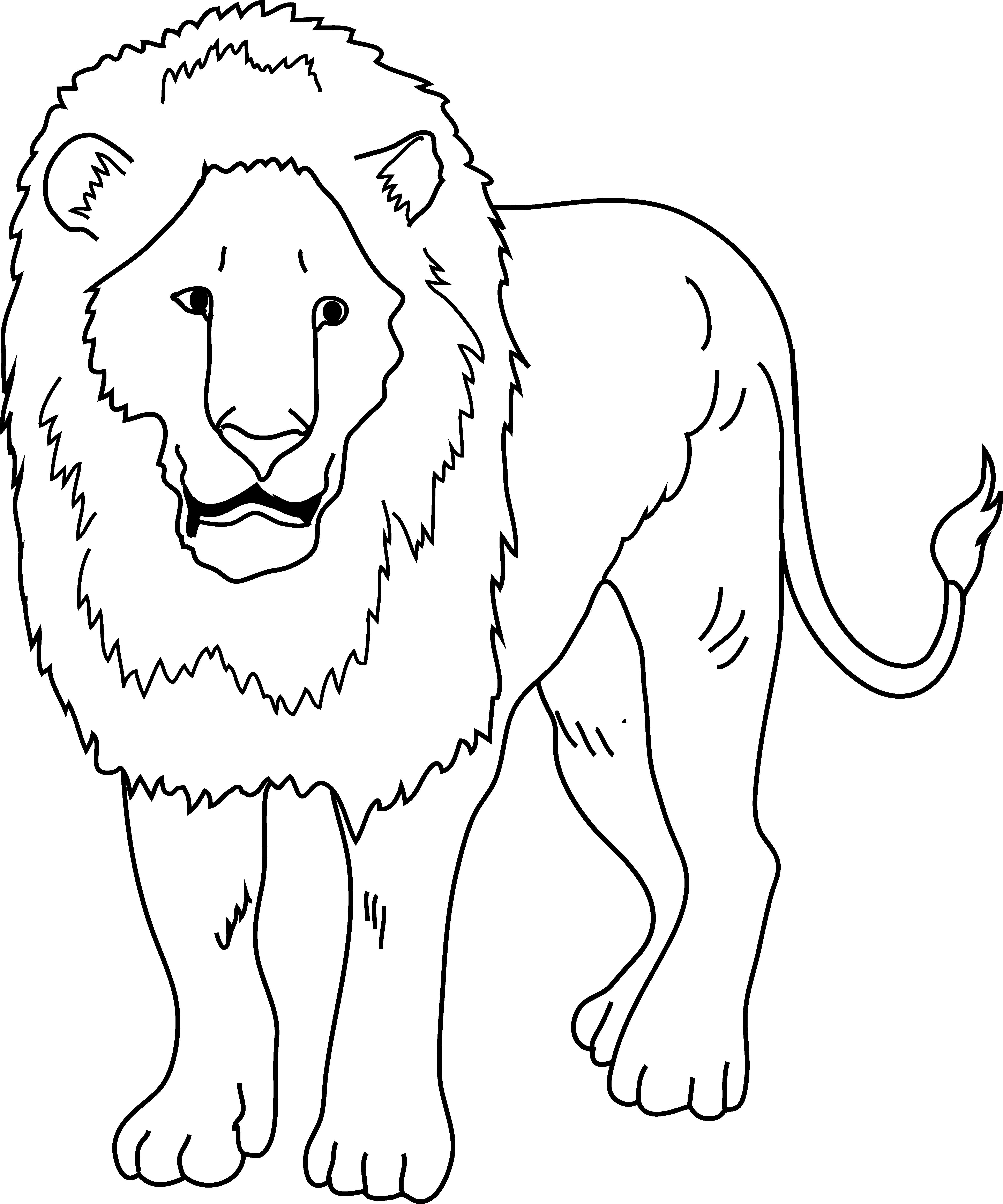 Black and white clipart angry cat png download Big Cat Clipart Lion Outline png download