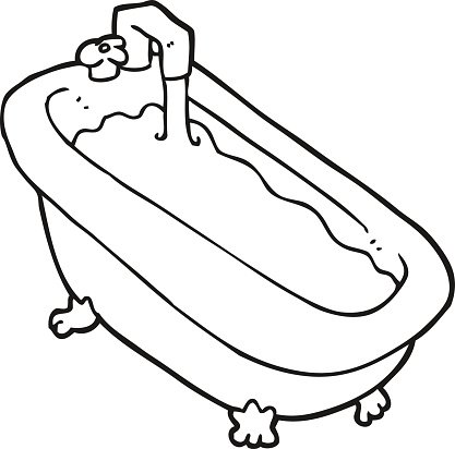 Black and white clipart bath vector library Black and White Cartoon Bath Full of Water premium clipart ... vector library