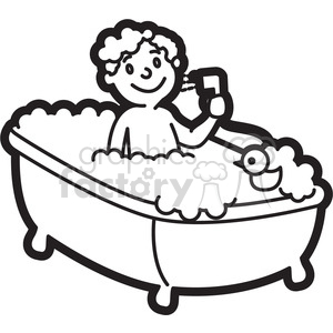 Black and white clipart bath clipart freeuse library boy taking a bath cartoon in black and white clipart. Royalty-free clipart  # 397927 clipart freeuse library