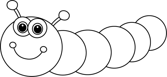 Black and white clipart caterpillar
