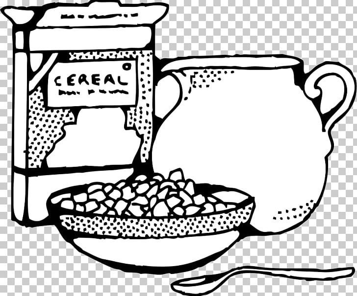 Black and white clipart cereal banner royalty free Breakfast Cereal Milk Corn Flakes PNG, Clipart, Area, Black And ... banner royalty free