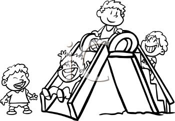 Child clipart play black & white vector black and white stock Black And White Clipart Kids Playing | Free download best Black And ... vector black and white stock