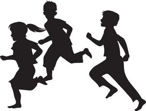 Black and white clipart child running outside freeuse library Black And White Clipart Kids Playing | Free download best Black And ... freeuse library
