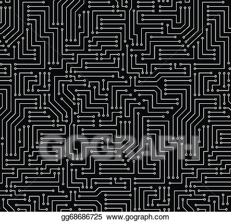 Black and white clipart circuit picture stock Vector Clipart - Black and white printed circuit board. Vector ... picture stock