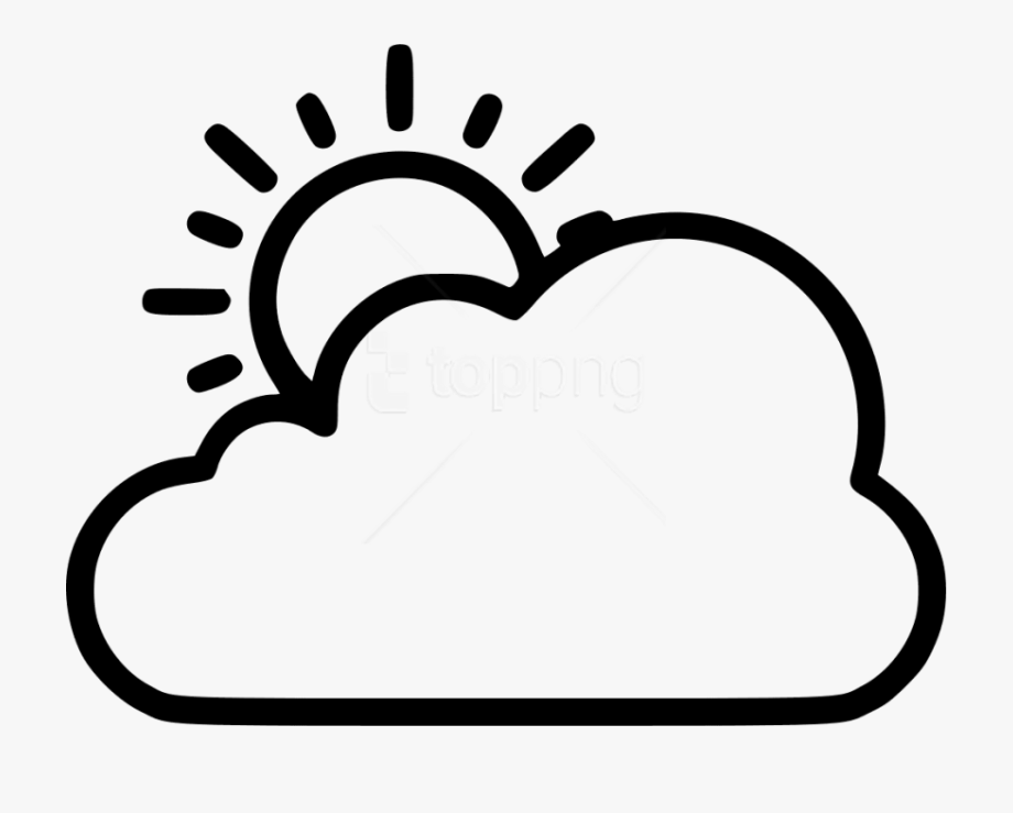 Png Image With - Sun And Cloud Clipart Black And White #334028 ... black and white