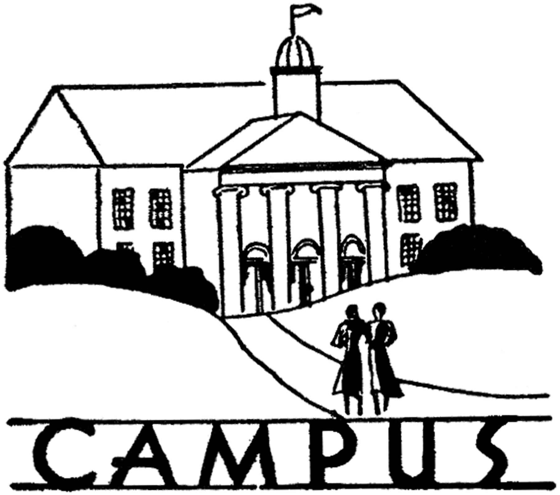 Black and white clipart for college students