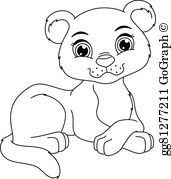 Black and white clipart cub clip transparent download Cub Clip Art - Royalty Free - GoGraph clip transparent download