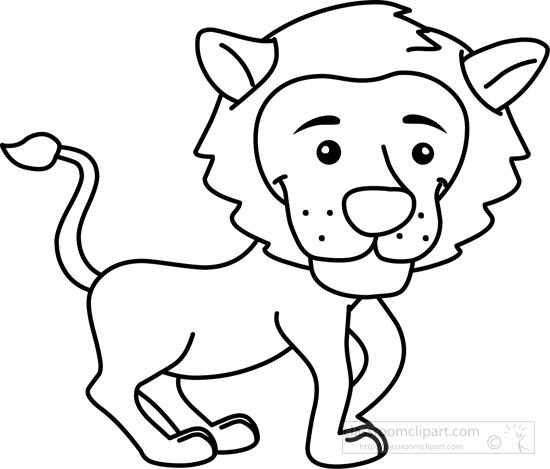 Black and white clipart cub graphic library stock Animals : young-tiger-cub-black-white-outline : Classroom Clipart ... graphic library stock