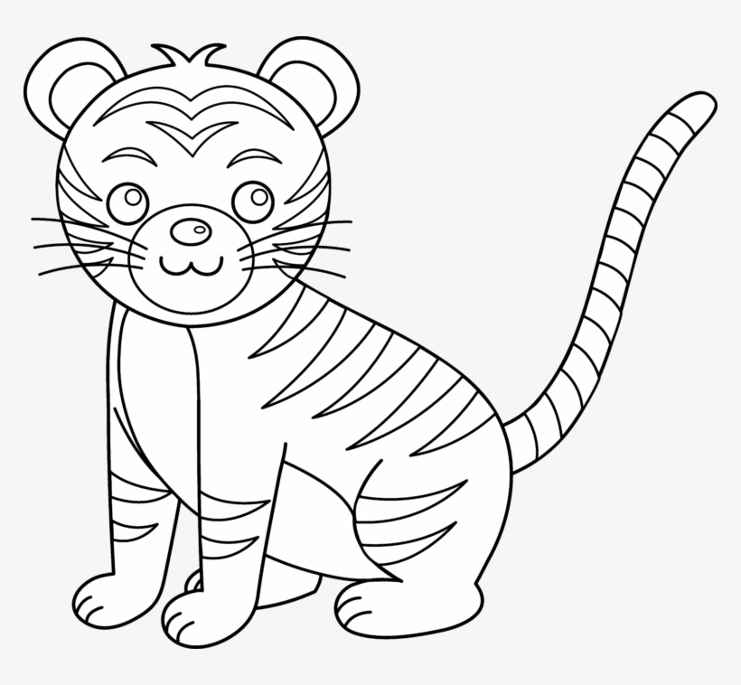 Black and white clipart cub svg free stock Cub Clipart Black And White - Cute Tiger Clip Art Black And White ... svg free stock