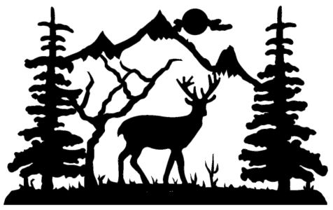 Black and white clipart deer by trees svg royalty free library Free Deer And Tree Silhouette, Download Free Clip Art, Free Clip Art ... svg royalty free library