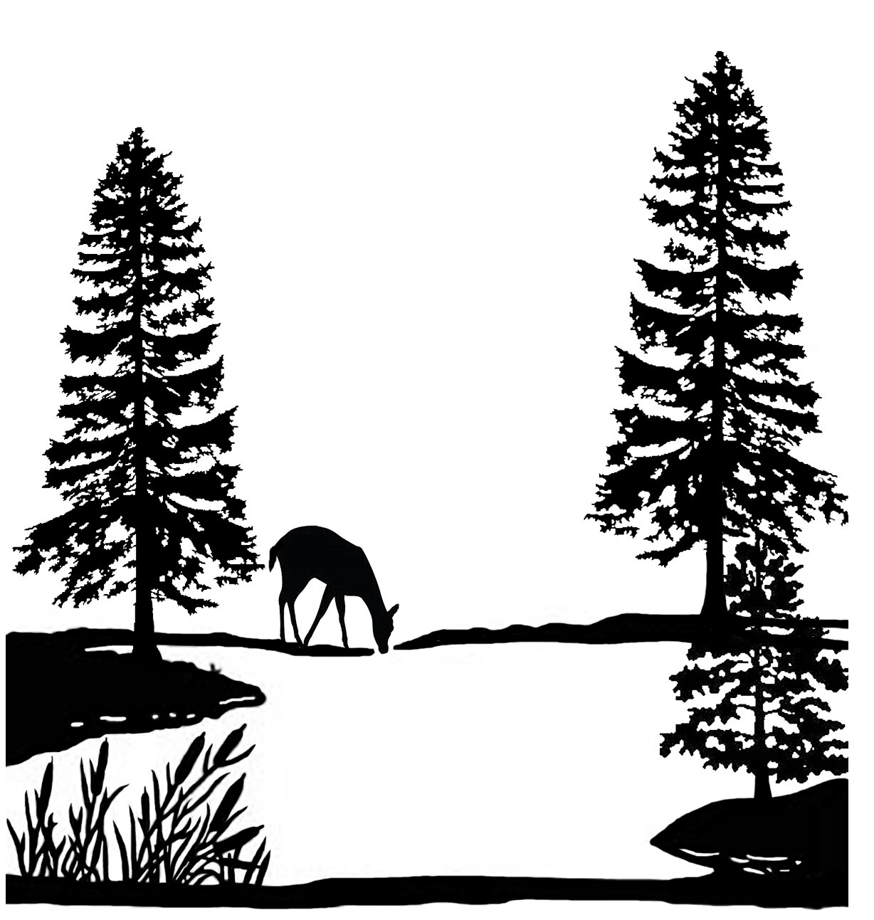 Black and white clipart deer by trees royalty free library Pine Tree Black And White   Free download best Pine Tree Black And ... royalty free library