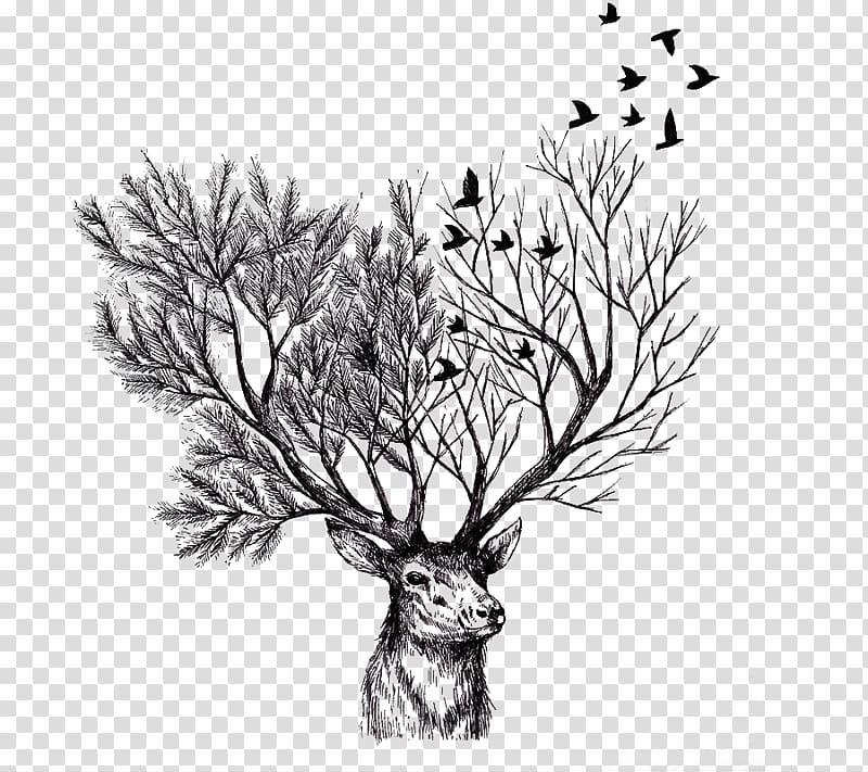 Black and white clipart deer by trees free Optical illusion painting of buck and trees , Deer Paper Tree ... free
