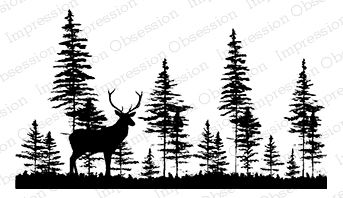 Black and white clipart deer by trees svg freeuse Impression Obsession Deer in Forest - Cling Rubber Stamp F7838 ... svg freeuse