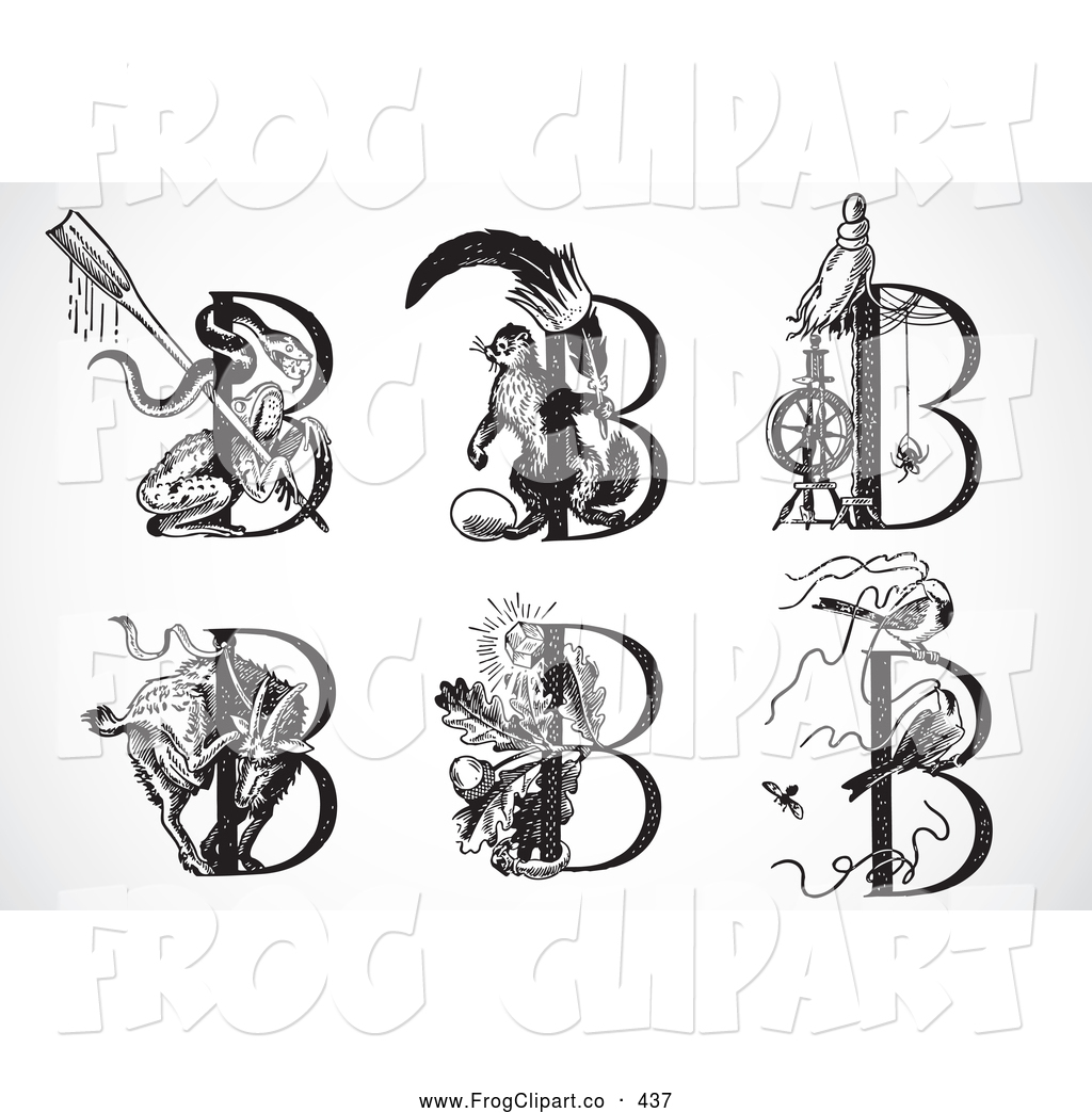 Black and white clipart design letter b svg freeuse Clip Art of a Digital Collage of Black and White Animal Letters ... svg freeuse