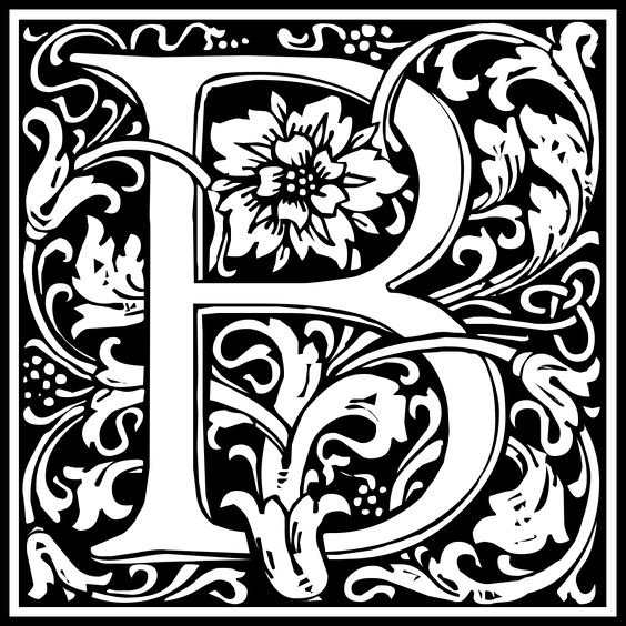 Black and white clipart design letter b image freeuse stock Free Clipart: William Morris Letter B | Symbol | kuba | Alfabet ... image freeuse stock