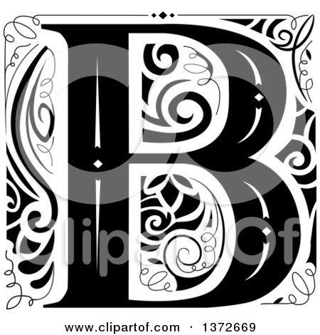 Black and white clipart design letter b png freeuse Royalty-Free (RF) Letter B Clipart, Illustrations, Vector Graphics #3 png freeuse