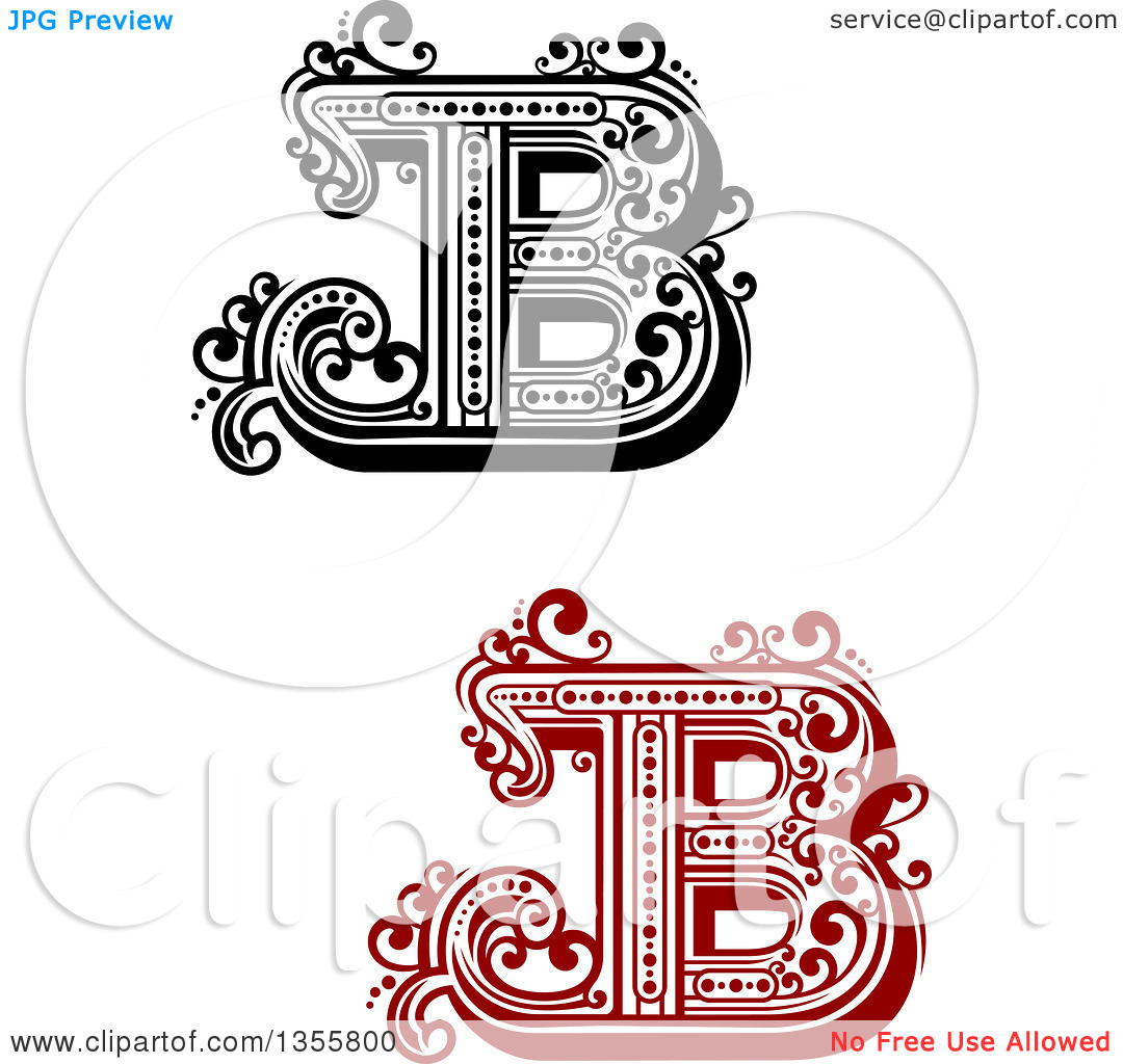 Black and white clipart design letter b banner free stock Clipart of Retro Red, Black and White Capital Letter B Designs ... banner free stock