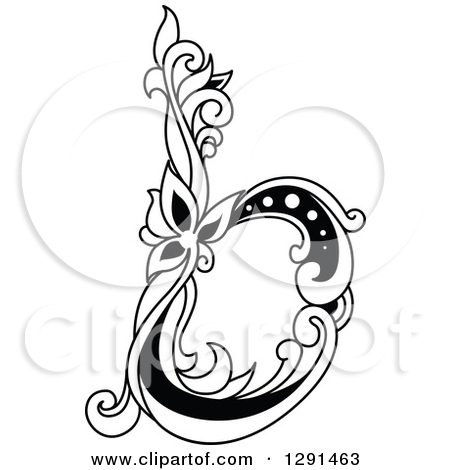 Black and white clipart design letter b royalty free stock Clipart of a Black and White Vintage Lowercase Floral Letter B ... royalty free stock