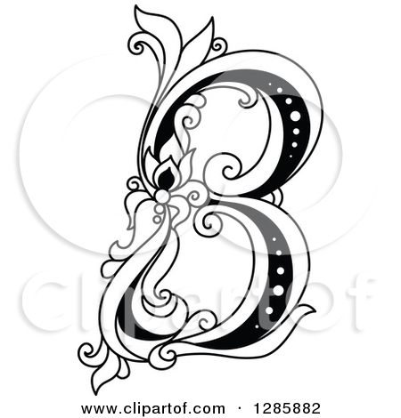 Black and white clipart design letter b graphic download Clipart of a Black and White Vintage Floral Capital Letter B ... graphic download