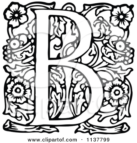 Black and white clipart design letter b clip royalty free download Clipart Vintage Black And White Letter B - Royalty Free Vector ... clip royalty free download
