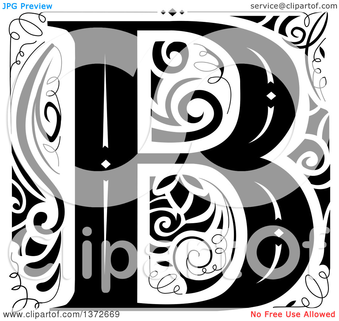 Black and white clipart design letter b jpg free Clipart of a Black and White Vintage Letter B Monogram - Royalty ... jpg free