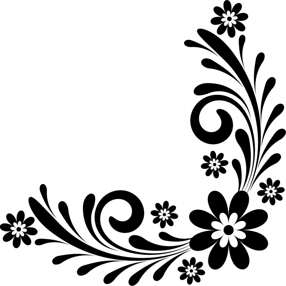 Floral border clipart black and white. Design free download best