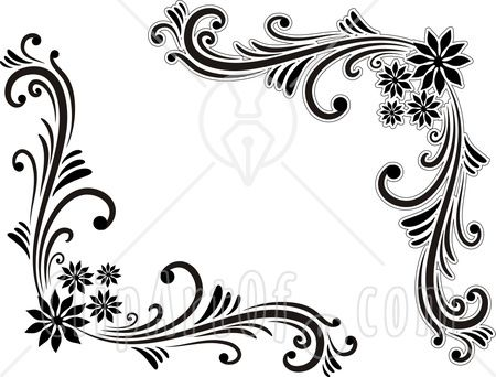 Sun corner border black and white clipart transparent download Pin by stanley witowski on design idea\'s with wire | Corner drawing ... transparent download