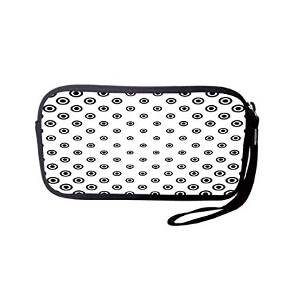 Black and white clipart different shaped kids in circle banner freeuse library Amazon.com: iPrint Neoprene Wristlet Wallet Bag,Coin Pouch,Geometric ... banner freeuse library