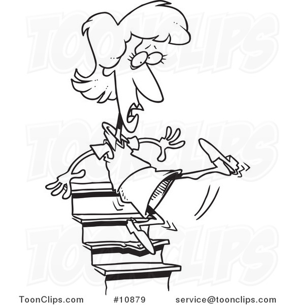 Black and white clipart falling down stairs clipart transparent library Cartoon Black and White Line Drawing of a Lady Falling down Stairs ... clipart transparent library
