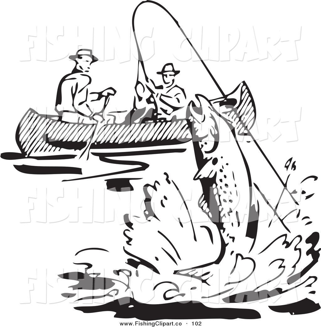 Fishing clipart black and white. Clip art of a