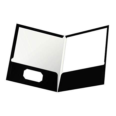 Black and white clipart folder image free stock Oxford Laminated Twin-Pocket Folders, Letter Size, Black, Holds 100 Sheets,  Box of 25 (51706EE) image free stock