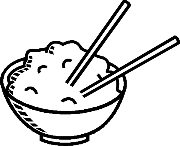 Black and white clipart food image free clip art black and white | Rice Bowl Black And White clip art ... image free