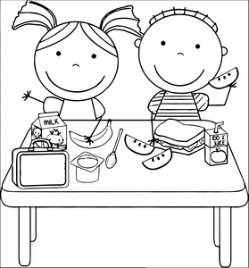 Black and white clipart for child eating clipart transparent library Kids Eating Lunch Clipart | Free Images at Clker.com - vector clip ... clipart transparent library