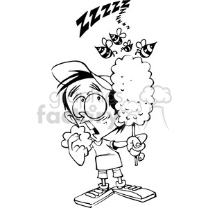 Black and white clipart for child eating clipart freeuse library kid eating cotton candy in black and white clipart. Royalty-free clipart #  388483 clipart freeuse library