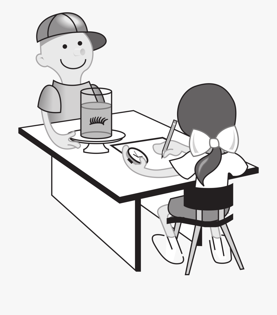 Black and white clipart for child eating at a table svg black and white library Kids At Table Doing Experiment - Student And School Clipart Black ... svg black and white library